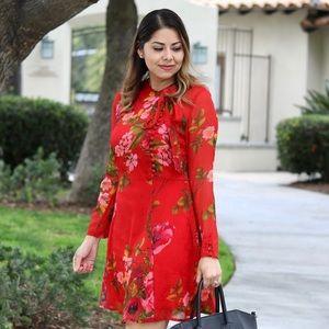 Elegant Red Floral Dress